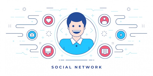 Uomo felice e icone create per il sito web moderno con il social network marketing