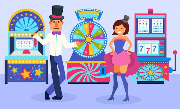 Uomo festivo vestito sorridente e ragazza dell'assistente del mago che stanno davanti all'illustrazione delle slot machine. ruota della fortuna e diverse macchine da gioco.