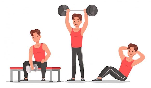 Uomo fitness facendo esercizio set di caratteri