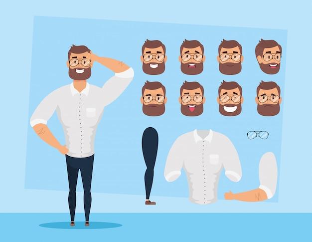 Uomo forte barba con set di facce carattere illustrazione vettoriale design