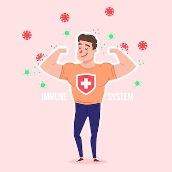 Uomo forte con un buon sistema immunitario contro i virus