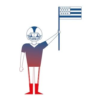 Uomo giocatore football americano in possesso di bandiera americana lavoro giorno
