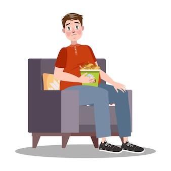 Uomo grasso con secchio pieno di pollo