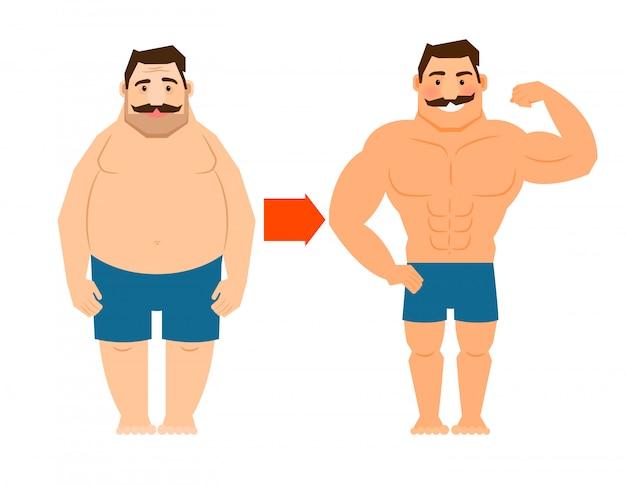 Uomo grasso e magro con i baffi