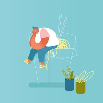 Uomo grasso seduto su un enorme wok da asporto scatola con tagliatelle e bacchette. carattere maschio che visita ristorante asiatico con il concetto di cibo cinese. fastfood spaghetti pasto. cartoon piatto