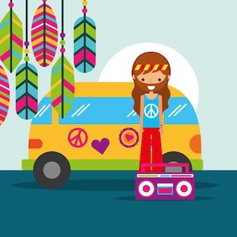Uomo hippie con van e radio musicali retrò
