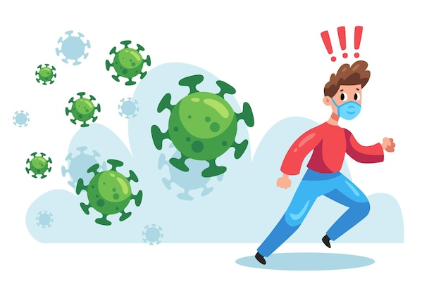 Uomo illustrato che corre da particelle di coronavirus