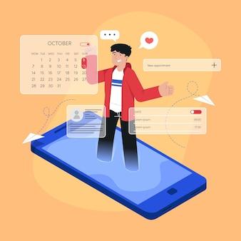 Uomo illustrato che prenota un appuntamento sullo smartphone