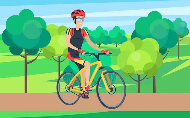 Uomo in abbigliamento di riciclaggio sull'illustrazione della bicicletta