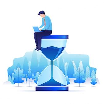 Uomo in abito formale seduto su una clessidra e lavorando sul suo computer portatile. illustrazione della pagina di destinazione del concetto di gestione del tempo e della produttività.