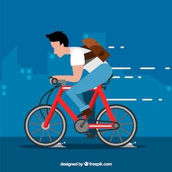 Uomo in bicicletta con design piatto