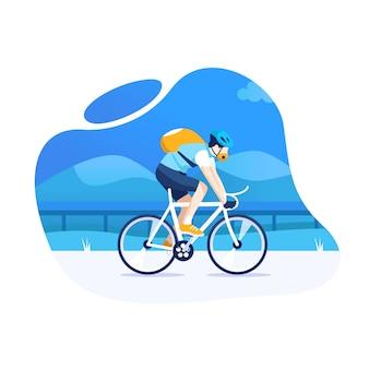 Uomo in bicicletta con un sentiero di montagna