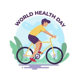 Uomo in bicicletta per la giornata mondiale della salute