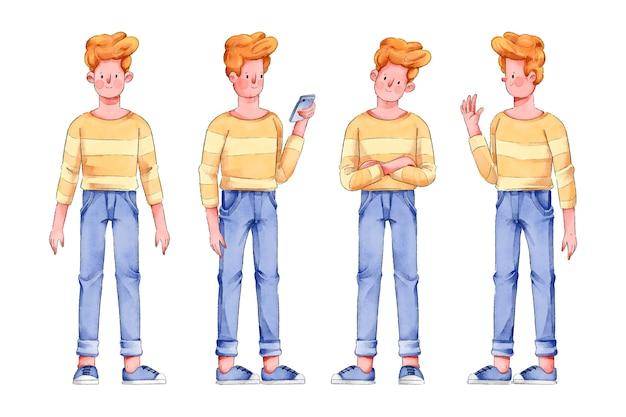 Uomo in camicia gialla personaggio pone