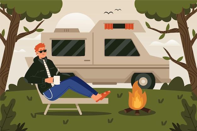 Uomo in campeggio con un concetto di roulotte