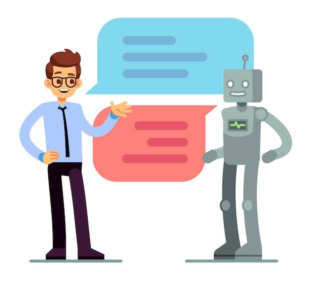 Uomo in chat e chiedere aiuto bot