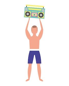 Uomo in costume da bagno che tiene l'illustrazione di vettore della radio stereo