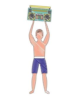 Uomo in costume da bagno con radio stereo