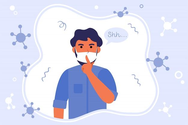 Uomo in maschera mantenendo il silenzio