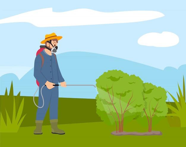 Uomo in maschera protettiva a spruzzo su piante, agricoltore