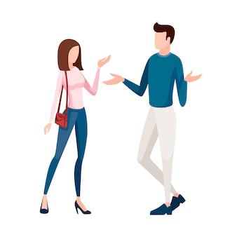 Uomo in pantaloni bianchi e pullover blu in piedi. donne in blue jeans e pullover rosa in piedi. senza volto . illustrazione del fumetto su priorità bassa bianca
