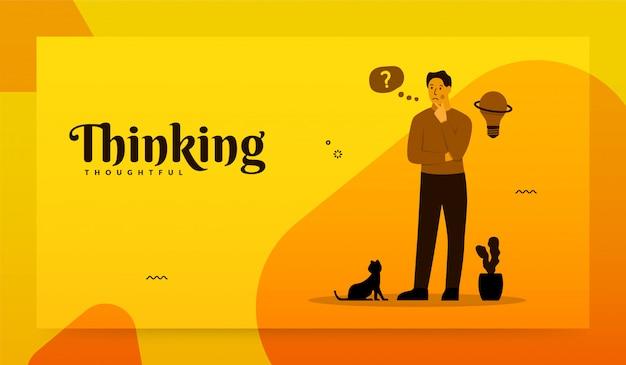 Uomo in piedi con il suo gatto e pensando al successo aziendale di destinazione