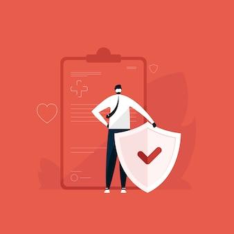 Uomo in piedi con scudo per assistenza sanitaria e protezione illustrazione, concetto di assicurazione medica, polizza assicurativa