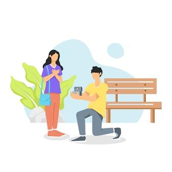Uomo in piedi sul ginocchio proponendo donna sposa di essere sua moglie. illustrazione piatta dei cartoni animati