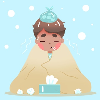 Uomo in una coperta che ha il raffreddore