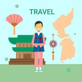 Uomo in vestiti coreani tradizionali sopra la mappa e il tempio della corea