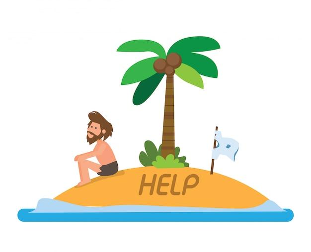 Uomo incagliato nell'illustrazione piana dell'isola