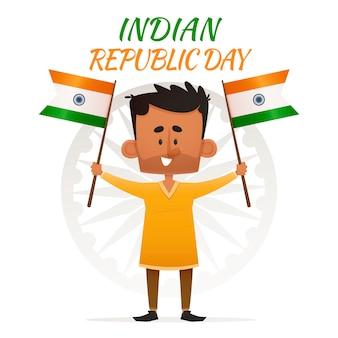 Uomo indiano con bandiere in aria