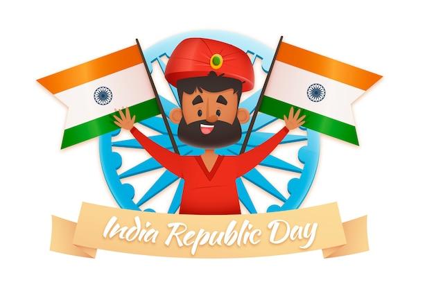 Uomo indiano in abiti tradizionali e bandiere