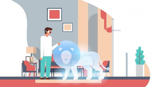 Uomo indossa occhiali digitali tocco realtà virtuale lion vr vision cuffia innovazione