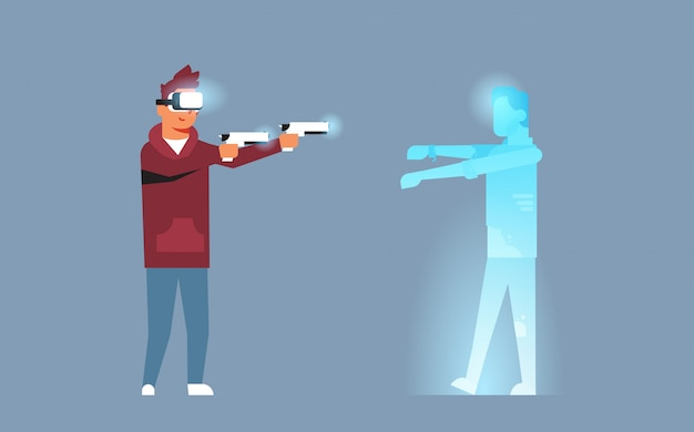 Uomo indossare occhiali digitali tenere pistole sparare realtà virtuale zombie vr visione auricolare innovazione concetto console video gioco orizzontale orizzontale