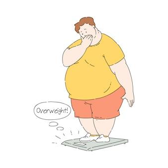 Uomo infelice obeso piatto sovrappeso su scala