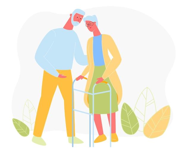 Uomo invecchiato abbraccia la donna con deambulatore, amore