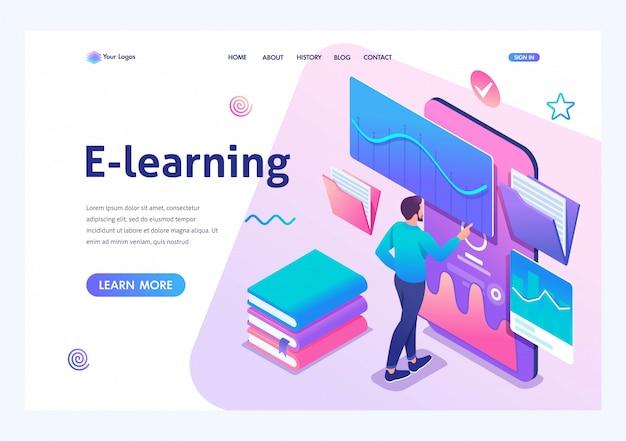 Uomo isometrico guardando una lezione sul sito web, formazione online, e-learning. applicazione mobile per la formazione.