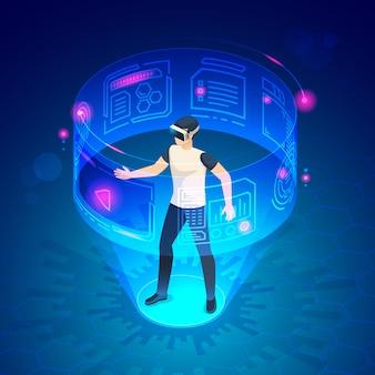 Uomo isometrico in vr. illustrazione virtuale di intrattenimento del gioco dei dispositivi della cuffia avricolare degli occhiali di protezione del mondo futuro