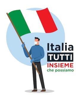 Uomo italiano con bandiera italiana che incoraggia le persone contro il virus corona