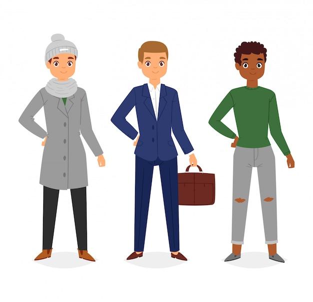 Uomo look moda personaggio abbigliamento vettoriale ragazzo cartone animato vestire abiti con pantaloni moda o scarpe