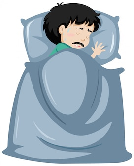 Uomo malato che riposa a letto