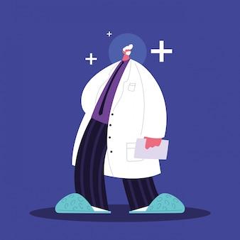 Uomo medico in piedi, personale medico