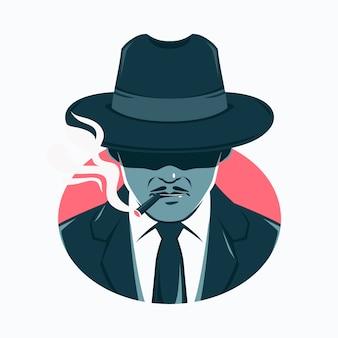 Uomo misterioso della mafia che fuma una sigaretta