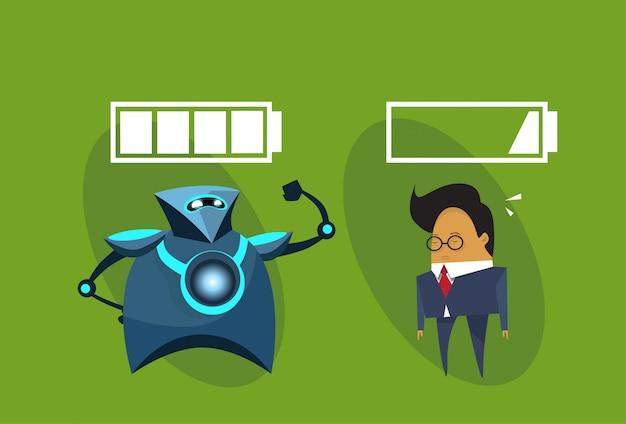 Uomo moderno di affari e di robot con l'icona dei segni della batteria umani contro il concetto di intelligenza artificiale dei robot