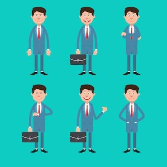 Uomo moderno di affari nelle pose differenti con la cartella
