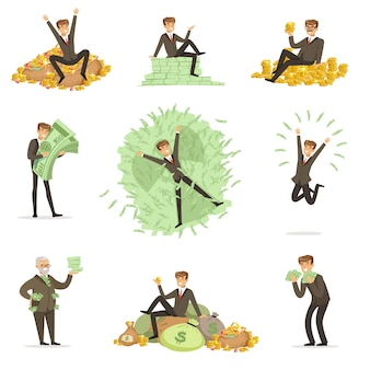 Uomo molto ricco che bagna nei suoi soldi, milionario felice magnate maschio serie di illustrazioni