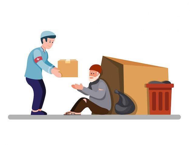 Uomo musulmano che dà la scatola dell'alimento ai senzatetto, attivista che sostiene il senzatetto nell'illustrazione piana del fumetto isolata nel fondo bianco
