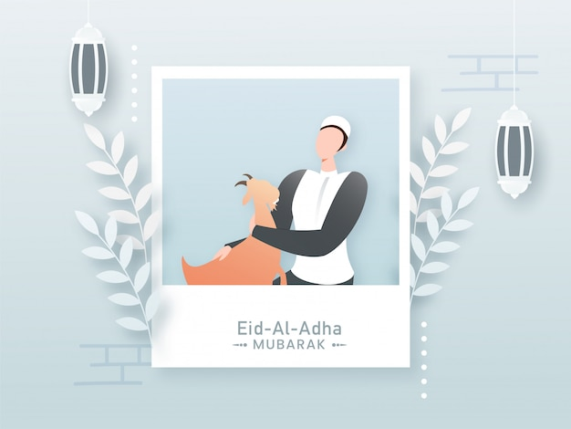 Uomo musulmano del fumetto che tiene una capra nel telaio della polaroid con le foglie e le lanterne d'attaccatura per il concetto di eid al-adha mubarak.