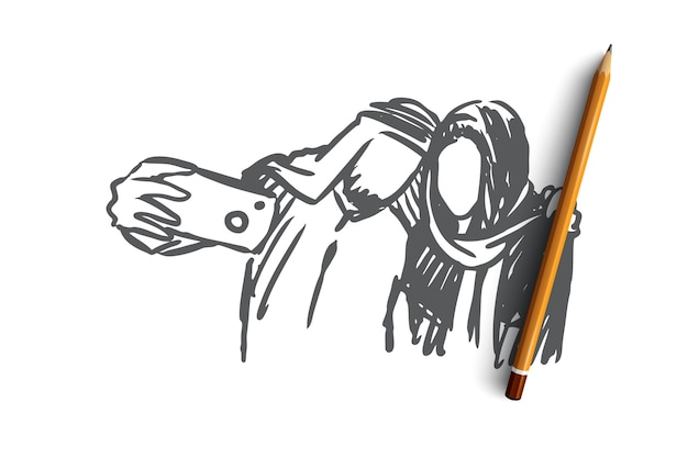 Uomo musulmano disegnato a mano e donna che fanno schizzo di concetto di selfie